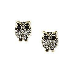 Crystal Owl Stud Earrings Claire S