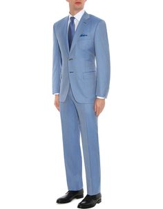 Light blue Super 160s wool Siena pinstripe suit with Top construction for men | Shop on Canali.com