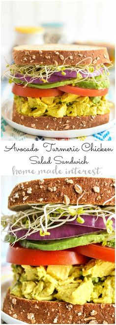 This wholesome sandwich is a healthy lunch recipe that is filled with flavor. The turmeric chicken salad base is mashed with avocados to make a creamy lunch salad that is healthy and full good fats. The avocado turmeric chicken salad is sandwiched between two pieces of sprouted bread for a filling lunch recipe! HarvestBlends   ad