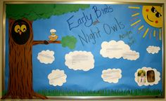 Champlain College Residential Life Bulletin Board by Samantha Hoeltge '15, Spinner Place RA. Early Birds and Nights Owls: Activities for Both. Month of September.