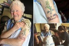 old Great Grandma Tattoos Her Arm(Photos) Benadryl Dosage, Grandma Tattoos, Alter, Cool Tattoos, Watercolor Tattoo, The Cure, Arms, Blog, Funny