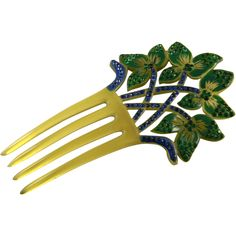 Wonderful Art Deco Celluloid Hair Comb from kindredcollector on Ruby Lane