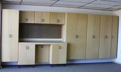 Sleek Light Oak Cool Garage Storage Closet Ideas & 10 best Custom Garage Cabinets images on Pinterest   Custom ...
