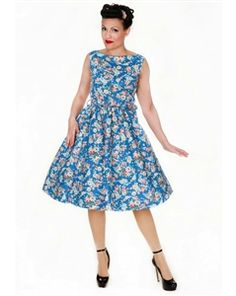 Blue Floral Pin Up Circle Dress 1950s Dresses Vintage Inspired Clothing