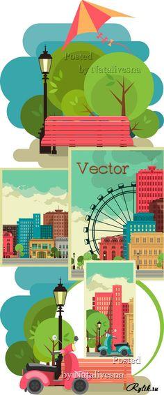 Городской пейзаж - векторные иллюстрации для дизайна