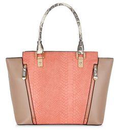 £24.99 Handbag New Look Mink Snakeskin Textured Panel Zip Front Shoulder Bag