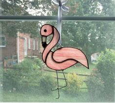 Flamingo Suncatcher, Stained Glass Flamingo, Pink Flamingo, Flamingo Ornament, Stained Glass Bird, Housewarming Gift, Tropical Decor by StainedGlassYourWay on Etsy