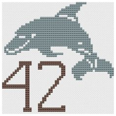 The Answer cross stitch pattern Douglas Adams Hitchhikers Guide to the Galaxy via Etsy