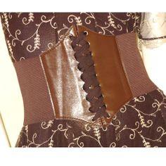 Brown Lace Up Elastic Wide Burlesque Gothic Waist Corset Belt Shop SKU-0609104