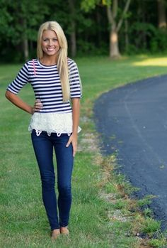 Crochet and Stripes Top | Navy
