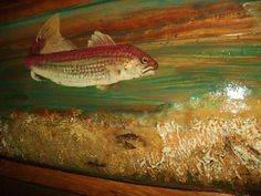 """REDFISH OCEAN SCENE painting 4ft x 17"""" nautical cottage decor on reclaimed pine hand painted beach colors great centerpiece unique home art by oceanarts10 on Etsy"""