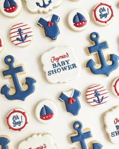 """Nina Marie Sweet Designs   Baby Shower   Baby boy   custom cookies   biscuits   decorated cookies   pregnant   cookies   dessert   party favours   baby blue   nautical   bottles   rattle   decorations   anchor   jumpsuit   cute cookies   305 Likes, 13 Comments - Nina Marie Sweet Designs (@ninamariesweetdesigns) on Instagram: """"Baby blue for a baby boy shower """" 231 Likes, 18 Comments - Nina Marie Sweet Designs (@ninamariesweetdesigns) on Instagram: """"AHOY! ⚓️ Nautical baby shower cookies❤️"""""""