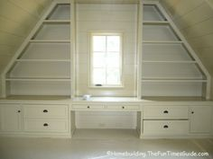 built in shelving in room with slanted/sloped ceiling: LOVE