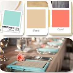 tiffany blue, coral and tan stain linens