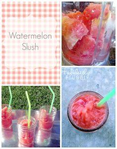 Watermelon Slush Recipe: Like sipping a refreshing, yummy watermelon!  Watermelon, banana, water, lime, honey.