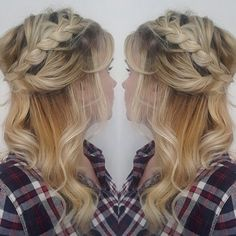 Braided halfup style with curls