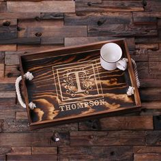 Personalized wood serving tray with nautical handles is a perfect housewarming gift. Works great as kitchen table centerpieces, as living room accessories or for bedrooms and bathrooms knickknacks, to