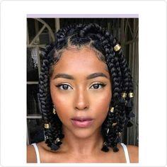 Short Box Braids Hairstyles, Twist Braid Hairstyles, Braided Hairstyles For Black Women, Braids For Black Hair, Short Box Braids Bob, Dreadlock Hairstyles, Long Braids, Wedding Hairstyles, Twist Box Braids