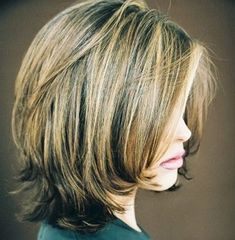 Shoulder Length Bob Styles The attractive bob has subtle layers cut around the sides and back to add shape to the length that is kept simple and solid to sit at the shoulders. This is perfect for people with fine to medium hair. The neat side swept bangs are slicked down on the forehead to frame the top of the face and enhance the bob. by natalia