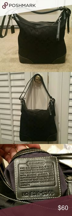 Authentic Coach Chelsea Signature canvas crossbody Very good condition. Coach Chelsea Signature black canvas and leather crossbody messenger. Strap doubles in size shown in pics. Zip top closure. Large interior zip pocket plus 2 additional small pockets for cell, etc. Small scratches and wear on bottom leather trim (pic). Always stored stuffed and in original dustbag (included). Coach Bags Crossbody Bags