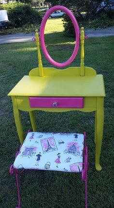 upcycled vanity and vanity seat