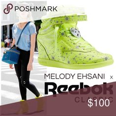 """Constellation Freestyle Hidden Wedge Sneakers This hidden wedged Freestyle Hi is decked out in an all neon yellow base while the upper is covered with 3m reflective constellations inspired by the 12 zodiac constellations & star groups. Just like her other releases, the """"Constellation"""" was a short limited release, available only at her LA boutique, and sold out very quickly. Excellent, pre-loved condition with minor wear (all pictured). pics were taken with & without flash to show how…"""
