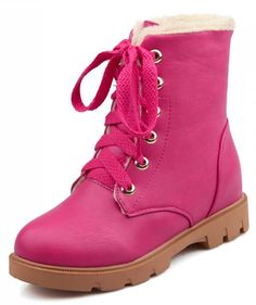IDIFU Women's Warm Fleece Lined Ankle High Snow Boots Lace Up Winter Martin Booties Low Heels * Find out more about the great product at the image link.