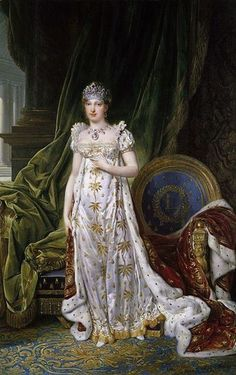 1810-portrait of Marie Louise, Empress Consort of France    Ornaments worn -    Fringe necklace of colored stones and pearls.    Crown set with colored stones and pearls.    Drop earrings with colored stones and pearls.    Portrait by - John Baptiste Isabey in 1810.