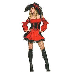 Cosplay Kostumer / Party-kostyme Pirat Halloween Kostumer Rød / Svart Blonder Kjole / Hatt Halloween Kvinnelig Terylene 5273975 2016 – kr.280
