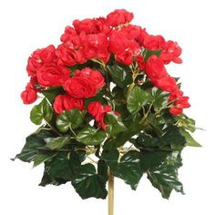 Vickerman 15.25 inch Red Polyester Begonia Bush with 90 Leaves and 102 Flowers
