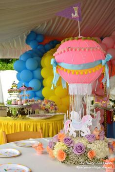 Vintage carnival birthday party centerpiece! See more party planning ideas at CatchMyParty.com!