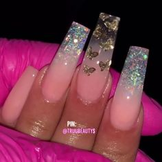 pink and clear acrylic nails with gold butterflies Nail Design Glitter, Nail Design Spring, Cute Acrylic Nail Designs, Nails Design, Clear Nail Designs, Clear Acrylic Nails, Bling Acrylic Nails, Summer Acrylic Nails, Coffin Nails