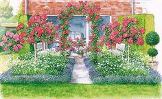 Unsere erste Gestaltungsidee ist ein Rosengarten, in dem die Rosen von rechteckigen Lavendelbeeten begleitet werden