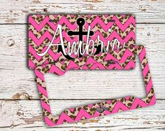 Gift for teen daughters Monogrammed license plate or frame Personalized front car tag Cute bike license plate Hot pink cheetah anchor (1417) by ToGildTheLily on Etsy