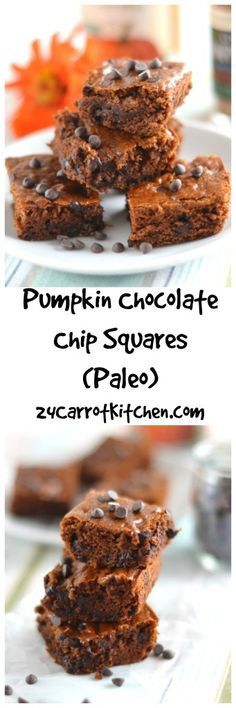 Grain, gluten and dairy free. No Oil! Ready in under 30 minutes! Click for recipe to these delicious Pumpkin Chocolate Chip Squares! |Grain free, gluten free, paleo, dairy free, dessert, brownies, fal(Flourless Muffin Carrot)