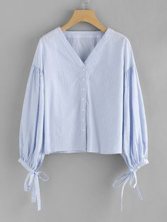 To find out about the Vertical Striped Balloon Sleeve Tie Cuff Blouse at SHEIN, part of our latest Blouses ready to shop online today! Clothing Store Interior, White Homecoming Dresses, New Designer Dresses, Modern Hijab Fashion, Sleeves Designs For Dresses, Blouse Designs, Fashion Outfits, Tunic Pattern, Clothes