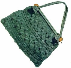 Green Knitting Bag crochet pattern from Handbags and Hats, originally published by American Thread Co, Star Book No. 97, in 1953.