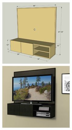 "This wall-mounted media cabinet takes a new approach to the traditional ""entertainment center."" It hangs on the wall, allowing you to mount your TV to it, and then keep small media components on the shelves below. Wires hide behind the back panel. Get the FREE PLANS for this project and many others at buildsomething.com"