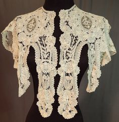 Antique-Hand-Made-Brussels-Rose-Point-de-Gaze-Duchesse-Bobbin-Lace-Shawl-Collar