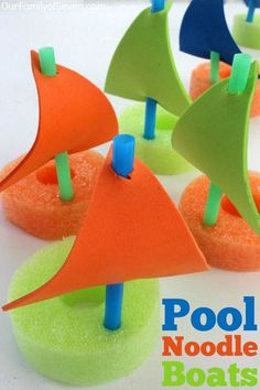 DIY Pool Noodle Boats- Super fun water activity for the kiddos this summer. Inex… DIY Pool Noodle Boats- Super fun water activity for the kiddos this summer. Inexpensive and super easy to make. Find all items at the Dollar Store. Boat Crafts, Vbs Crafts, Camping Crafts, Preschool Crafts, Arts And Crafts, Camping Games, Camping Ideas, Boat Craft Kids, Fall Crafts