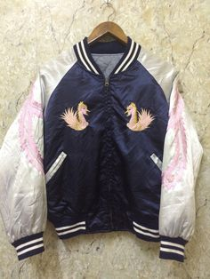 Vintage Sukajan Varsity Jacket, Phoenix Design Very Rare, By Princess co, Anniversary 50th Size:- M Armpit:- 23 Inches Sleeves From End Neck:- 29