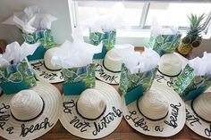 A Tropical Beach Bachelorette Party   These DIY floppy beach hats with sayings like Do Not Disturb or Life's a Beach are the perfect bachelorette party favor for a beach bachelorette. Click to see the whole party! Ultimate Bridesmaid   Love Always, Audrey