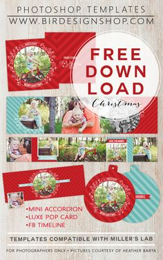Free Christmas Photoshop templates - accordion mini, luxe pop card & FB timeline