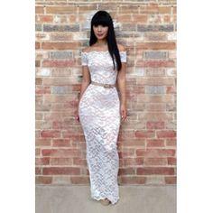 USD14.99Fashion Bateau Neck Short Sleeve Sheath Ankle Length White Lace Dress