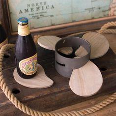 Propeller Coaster Set ~ Metal & Wood