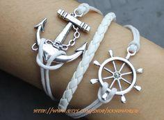 silvery anchor bracelet rudder bracelet white leather by handworld, $6.99