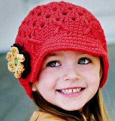 Touca de crochet para bebês - vermelha II R$34.00