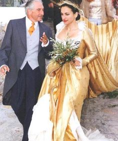 Wedding of Princess Olga of Greece and Duc Aimone de Savoie-Aoste.  Here Princess Olga with her father Prince Michael of Greece.  Prince Michael is the son of Prince Christopher of Greece.