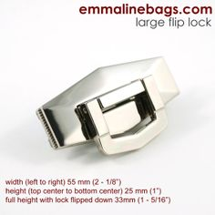 Purse Flip Lock 1 Large Shiny Nickel Purse lock by EmmalineBags, $5.50