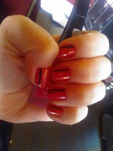 Red with black stripes